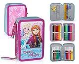 Disney Frozen 50534 Astuccio Triplo Riempito, 44 Accessori Scuola, 20 Centimetri