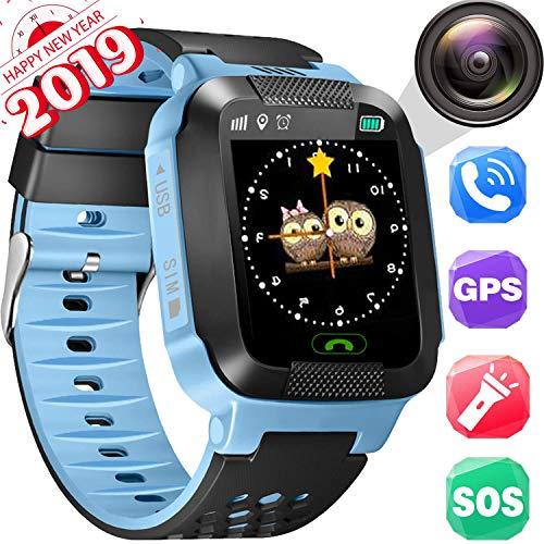Smartwatch para niños, Localizador GPS, SOS, Reloj despertador, Material ambiental, Juego de matemáticas, Seguimiento de locus de historia, Reloj inteligente para niños de 3 a 14 años
