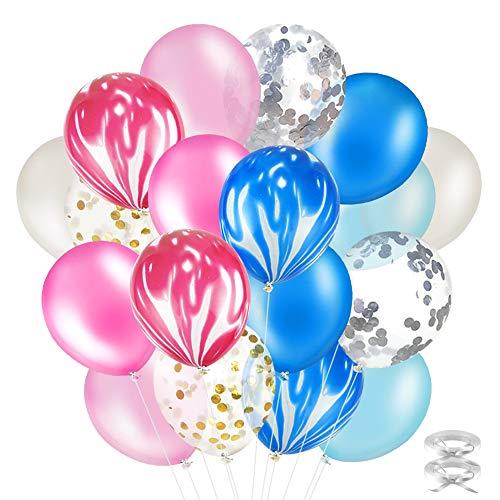 40 Stück Party Latexballons 12 Zoll Dekorative Ballons mit Golden Folie Konfetti für Geburtstagsfeier Hochzeit Party und Festival Dekoration Blau+Rosa ()