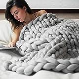 Beautyjourney Couverture Chauffante EsthéTique Main Chunky Tricot Couverture éPaisse Laine MéRinos Tricot 80X100cm (Gris)