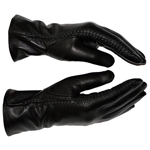 Dazoriginal Leather Gloves Women Soft Leather Gloves Women Winter Gloves Women Wool Black Gloves for Women Leather Ladies Gloves Excellent Quality Black Leather Gloves Ladies Black Leather Gloves Women Gift for Her Size 8.5