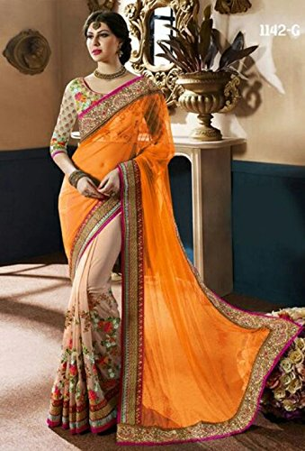 Shree Sareeka Designer Hub Women\'s Georgette & Net Saree (Skss086-1_Orange)