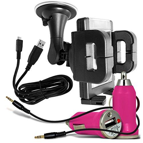 N4U Online®-padgene 12,7cm Smartphone Universal KFZ-Fenster Halterung, Bullet In Car USB-Ladegerät mit Lade-LED Light, USB-Datenkabel Ladegerät & 3,5mm Audio Jack zu Jack Kabel-Schwarz
