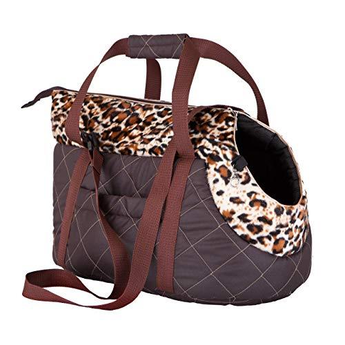HobbyDog Transporttasche für Hunde und Katzen, Größe 2, braun mit Panther-Design