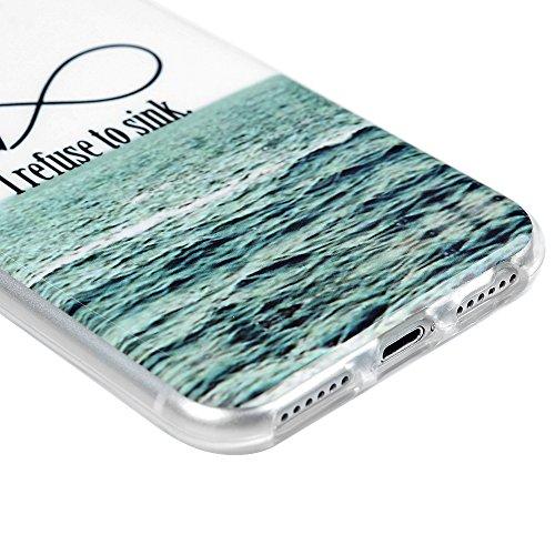 iPhone 7 Hülle iPhone 7 TPU Case Cover Kasos Premium Slim TPU Silikonhülle Tasche Handyhülle Bunt Gemalt Durchsichtig Rand Schutzhülle Etui Handytasche Handy Backcover mit Pfingstrose Design Meer Anchor