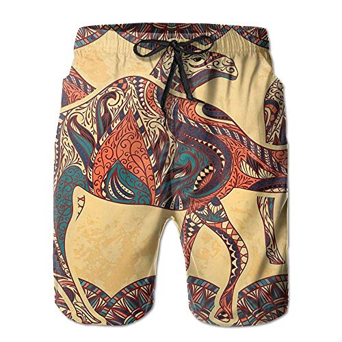 n Camel Animals with Oriental Arabesque Ornaments Folk Culture Men's Quick Dry Beach Shorts Casual Comfortable Surf Shorts - M ()