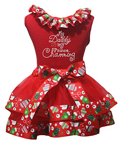 Petitebelle My Daddy Is My Prince Red Shirt Xmas Petal Skirt Outfit Set Nb-8y (3-12 Months) (Prince Charming Kind Kostüme)