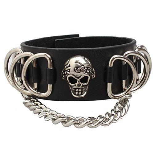 Ultra Skull und Ketten Leder Goth Steampunk Stil Armband Handgelenk Manschette Armbänder Gothic Goth emo Cyber Vintage Stil Biker Rock Adult Teens (Fashion Großhandel Womens Tops)