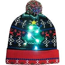 LILICAT❋ Moda LED Gorra Festiva Fibra óptica Brillante Sombrero de Navidad  Colorido Feliz Navidad Sombrero 14961c7d658