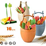16pcs blé paille Leaves Fruit Cake Forks Set Portable Cask Home Kitchen Tools Environmental Protective Fruit Snack Forks à dessert Home Party Accessory by sunsang Orange