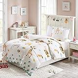 MIZONE KIDS Children's Animal Zoo Printed Cotton Duvet Cover and Pillowcase Set, Luxury Trendy Childrens Girls Quilt Bedding(Single, 135*200cm)