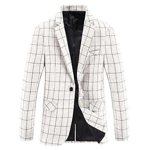 HHyyq Freizeitanzug Herren Sakko Langarm Slim Fit Blazer Jacke Outwear Mantel Anzug Tops Anzugjacken Anzuege Party Smoking Kostüm Eleganter Cocktail Jacket (Frühjahr Saison Kostüm)