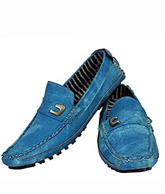 Elvace Blue Zara Loafer Shoes-6006 (8) Buy Online At Low Prices In India - Amazon.in