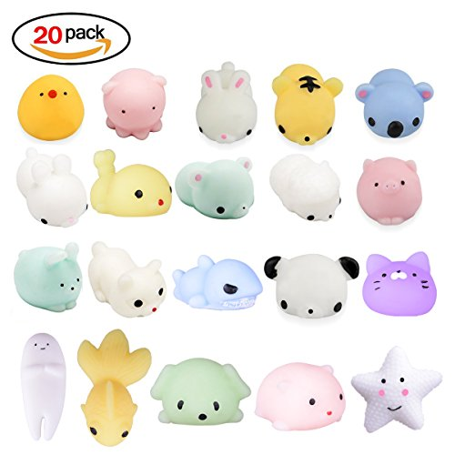(LEEHUR Squishy Kawaii Set, 20 Stück Mochi Mini Squishies Mesh Ball Anti Stress Spielzeug für Kinder)