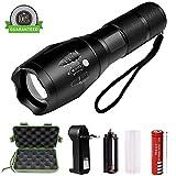 LED taktische Taschenlampe, Belog 900 Lumen XML T6 Portable wasserdichte Outdoor-Taschenlampe mit einstellbarer Fokus und 5 Licht Modi, wiederaufladbare 18650 Lithium-Ionen-Akku und Ladegerät