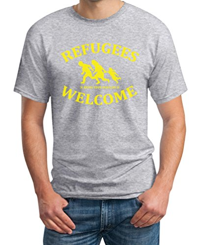 Refugees Welcome Bring Your Families - Flüchtlinge T-Shirt Grau