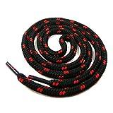 Schnürsenkel für Arbeitsschuhe und Trekkingschuhe, Rundsenkel (180 cm, schwarz/rot)