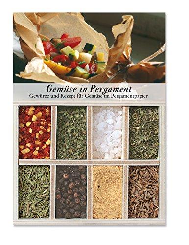 Gemüse in Pergament - 8 Gewürze für Gemüse in Pergamentpapier (53g) - in einem schönen Holzkästchen - mit Rezept und Einkaufsliste - Geschenkidee für Feinschmecker - von Feuer & Glas -