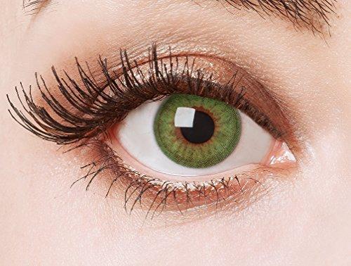 aricona Farblinsen – deckend grün - farbige Kontaktlinsen für auffallend grüne Augen – bunte, farbig intensive grüne Jahreslinsen für Cosplay & Halloween