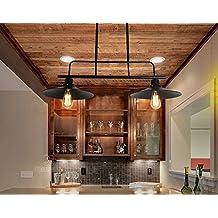 QWER Lámpara colgante de techo mesa de billar Loft Retro Americana Creativa hierro eólica industrial restaurante bar billar tres cabezas tapa Araña, Dos, negro