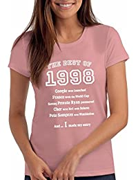 """Womens """"The Best of 1998"""" 20th Birthday T Shirt Gift, 100% Soft Cotton"""