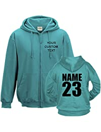CUSTOM TEXT printed on personalised zip up hoodie, make your own zipper hoodie Printed Zip Hoodie Hawaiian Blue
