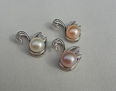 Pendentif cygne en perle de culture d'eau douce, pendentif swan en argent massif, Perle couleur blanche