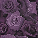 Arthouse Austin Rosenmuster Tapete Blumenmuster Blütenblätter Fotografische Motiv - Lila