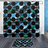 ISAOA Rutschfeste Badezimmermatte mit Kleinen Walen und schwarzen Punkten, 60 x 40 cm, wasserdicht, 183 x 183 cm, waschbarer Duschvorhang mit 12 Haken, Set
