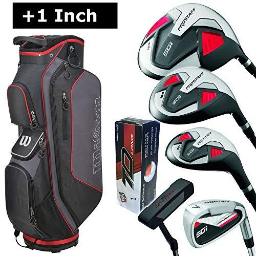 Wilson Pro Staff SGI Komplettset/Golfset für Herren (+ 1 Inch länger), Rechtshand, Graphitschäfte, Cartbag in Grau/Schwarz/Rot | Inkl. 3 Wilson Staff TD Long Golfbälle