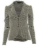 weiß-schwarz 8-36 Mardela Frauen 5 Knöpfe vorne versammelten Schulter Damen Blazer Jacke