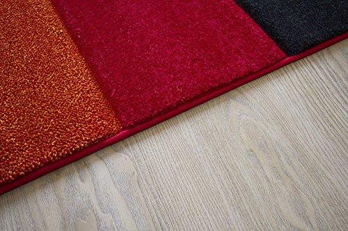 Modern Rug Botiga Squared Designer Rug Orange Red Soft Non Shedding Pile, Size 160x230 cm (5'3