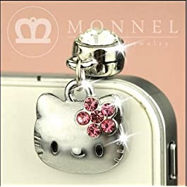 IP248-B Cute Pink Crystal Bow Hello Kitty Cat Anti Dust Plug Cover Charm for Iphone Android