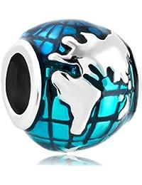 Fit Pandora Charm - Abalorio de pulsera Pandora Tierra, diseño de globo terráqueo, color azul