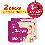 #2: Champs High Absorbent Premium Pant Style Diaper (Pack of 2)(Free 2-Pair Socks)| Premium Pant Diapers | Premium Diapers | Premium Baby Diapers | anti-rash and anti-bacterial diaper | (Medium, 56)