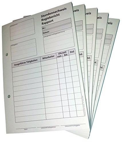 10x Block Stundennachweis-Regiebericht - Rapport DIN A5, 2-fach selbstdurchschreibend,2x50 Blatt weiß/grün - gelocht (22432)