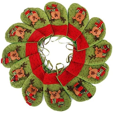 12pcs Bolsa de Caramelos Regalos Forma Medias Calcetines Navidad Decoración Ciervos