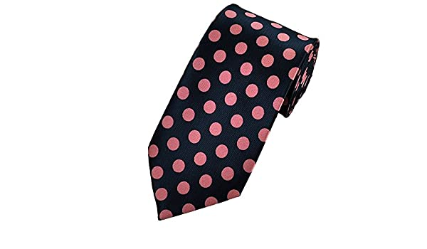 e7d8aaca776a Dark Navy Blue & Pink Polka Dot Tie: Amazon.co.uk: Clothing