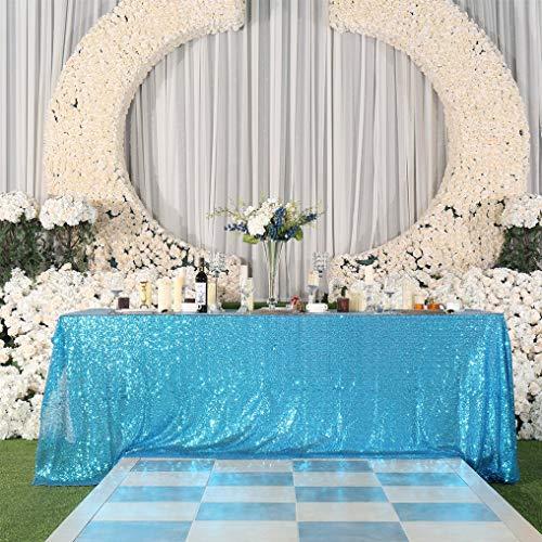Ejonir injonir 90\'\'X132\'\' Rechteckige Pailletten Tischdecke Sparkly Shimmer Tischdecke Overlay für Hochzeit Geburtstag Home Décor (Blau)
