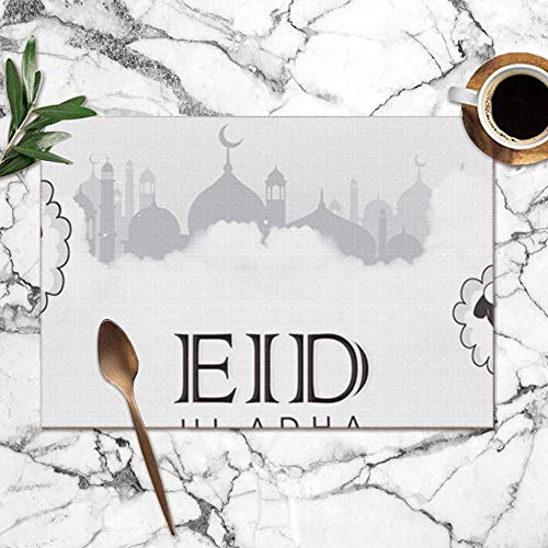 Lettering Composition Typographic Muslim Holidays Eid Washable Placemats for Dining Table Double Fabric Printing Polyester Place Mats for Kitchen Table Set of 6 Table Mat 12