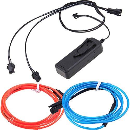 Neon Beleuchtung 1m EL Kabel mit 3V Kontroller Adapter Flexibel Wasserdicht für Weihnachten Halloween Partys Kostüm Autos Dekor Geschenk (Bis Weihnachten Licht Kostüme)