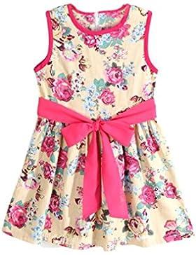 [Patrocinado]Vestidos para niñas, Dragon868 Niña Verano Sin mangas Flores Impresión Bowknot Decoración Vestidos