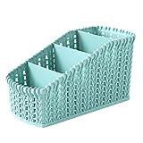 Doitsa 1 Stück Aufbewahrungskorb Storage Box in Rattan-Optik aus Kunststoff (PP) für Schreibtisch,Küche,Schminktisch,Badezimmer (Blau)