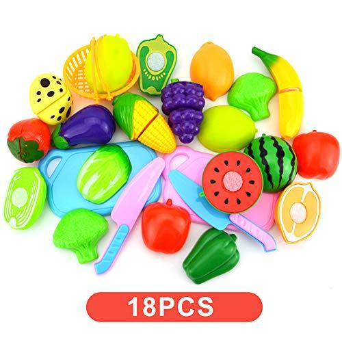 WE-WIN - 18 pezzi per frutta e verdura per giocare in cucina e per tagliare giocattoli di alimenti per bambini, abilità educative Multicolore