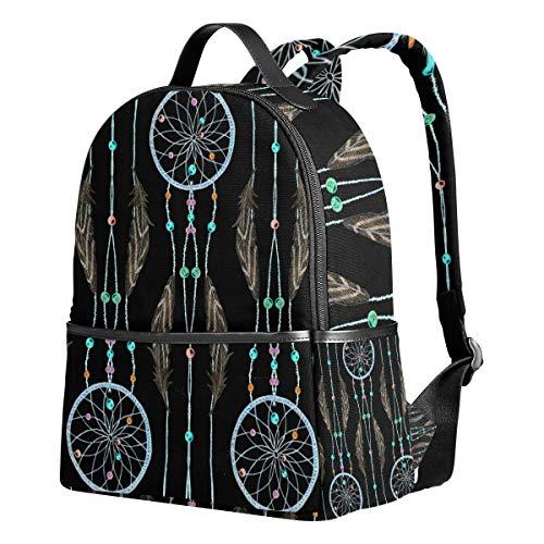 Ahomy Schulrucksäcke Wasserfarben Traumfänger Federn und Perlen Rucksack Schultertasche für Mädchen Jungen