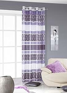 140x245 cm violett lila pflaume weiß transparent Vorhang Vorhänge Fensterdekoration Gardine Ösenschal violet purple lilac white CUBA