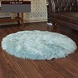 GAOC Schaffell Teppich Runde Reine Wolle Yoga-Matte Geeignet Für Stühle Boden (5-8cm Haarlänge),Blue3-diameter150cm(59'')