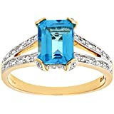 Naava 9ct Yellow Gold Single Stone Bluetopaz with Diamond Set Collette and Shoulders Ladies Ring