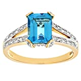 Naava Women's 9 ct Yellow Gold Single Stone Diamond Set Collette and Shoulders with Blue Topaz Ring