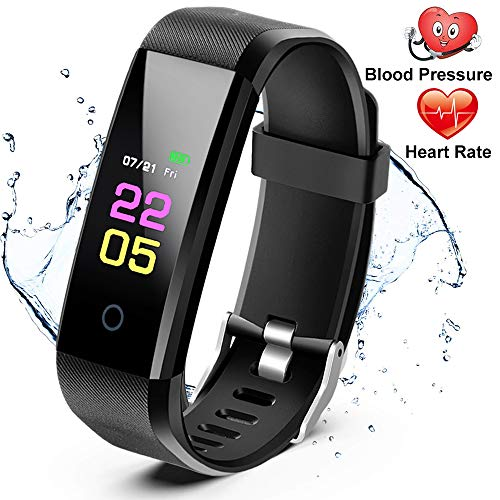 51lwyHNYhuL. SS500  - Fitness Trackers- Activity Tracker Watch with Heart Rate Blood Pressure Monitor, Waterproof Watch with Sleep Monitor, Calorie Step Counter Watch for kids Women Men Compatible Android iPhone Smartphone